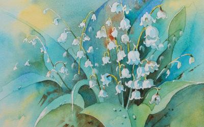 Aquarelle – bouquet de Muguet – Pas à pas #1