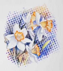 aquarelle watercolor fleurs narcisse