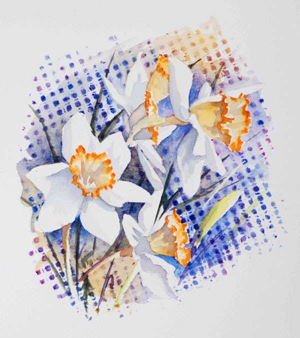 aquarelle watercolor fleurs narcisse