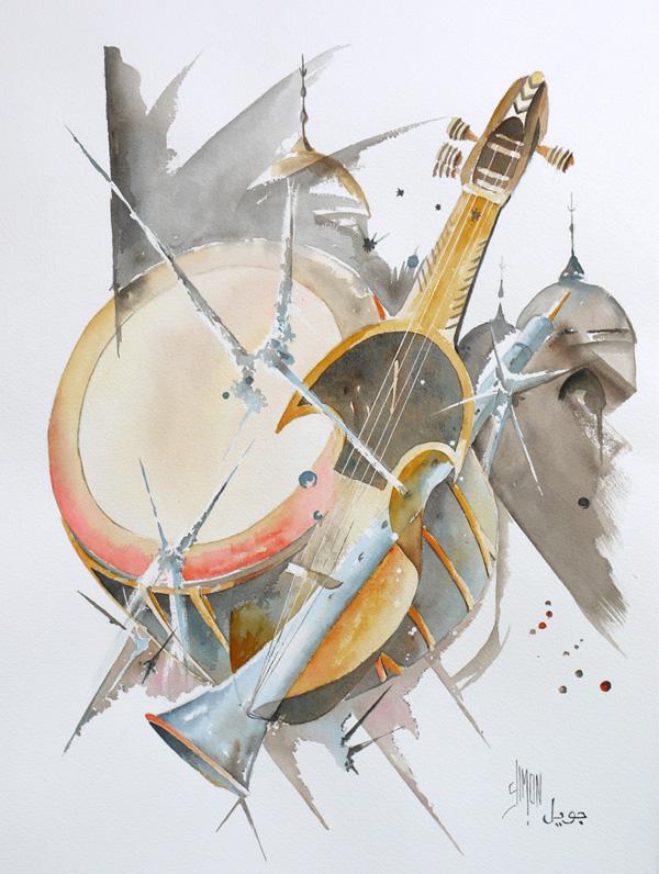 aquarelle instrument africain