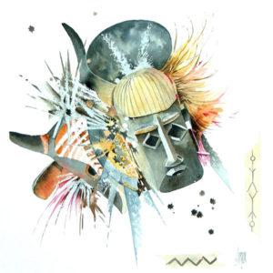 aquarelle masque africain