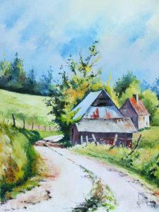 aquarelle d'un paysage de campagne