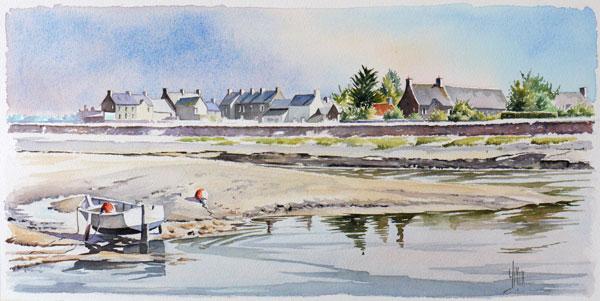 aquarelle watercolor plage regneville