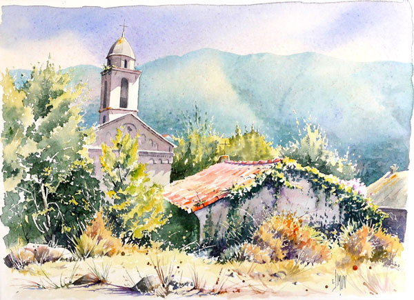 aquarelle du village de santa maria