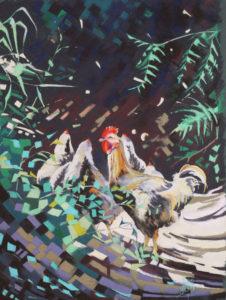 pastel poule coq