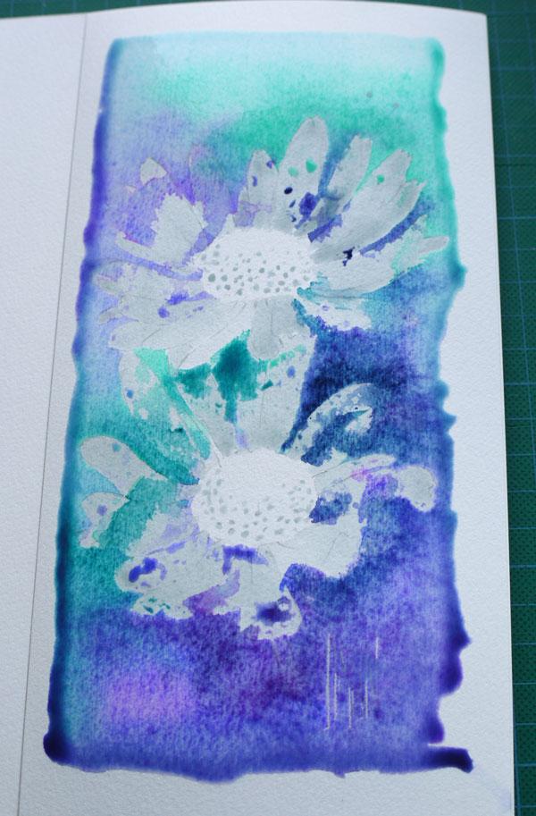 aquarelle art astuces drawing gum application couleurs