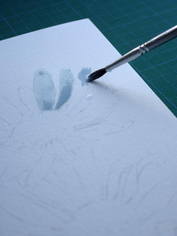 aquarelle art astuces drawing gum application paquerettes