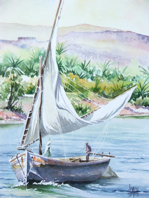 aquarelle Egypte felouque