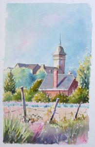 aquarelle église de Saint Bomer les Forges