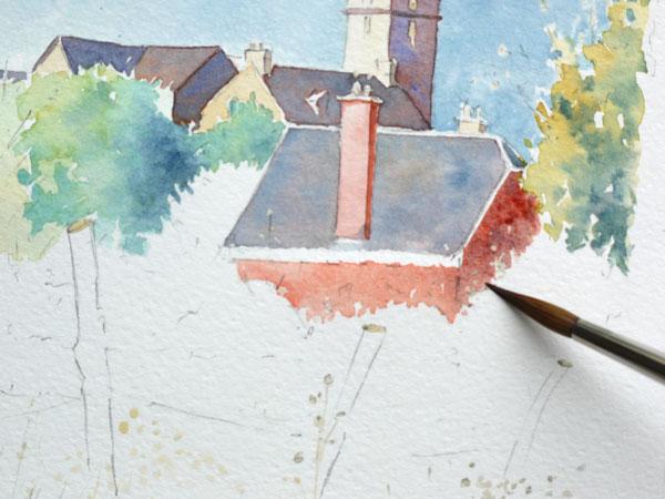 Optimisation aquarelle saint bomer detail arbres Mur batiment detail 19