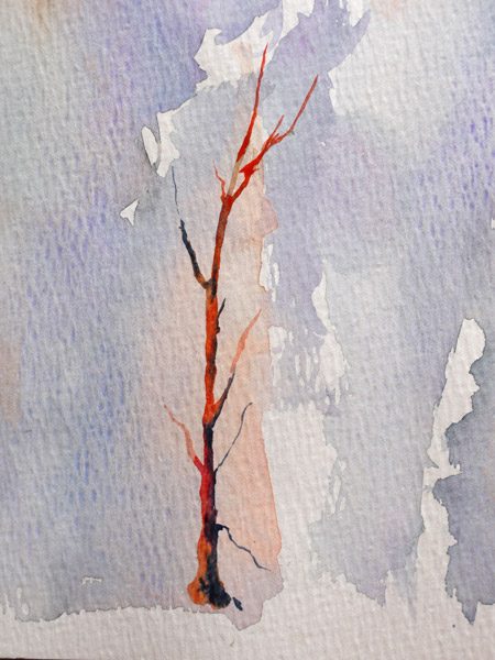 réalisation d'un arbre en positif à l'aquarelle
