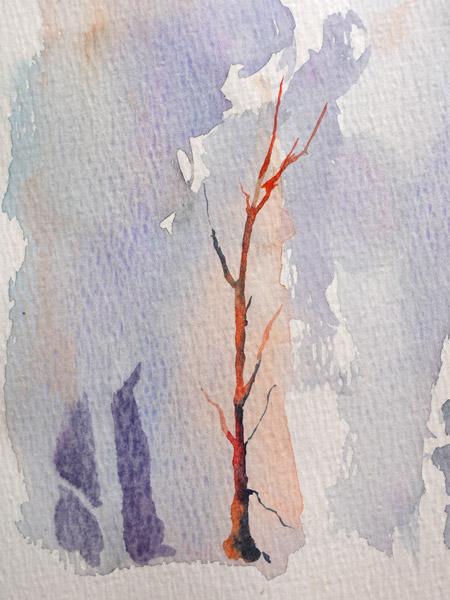 peindre un arbre en négatif à l'aquarelle