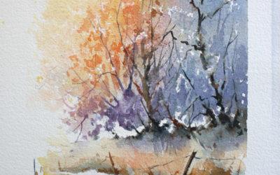 Chemin de forêt à l'aquarelle – positif / négatif