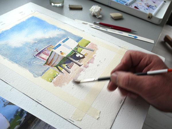 détail de réalisation d'un lavis aquarelle