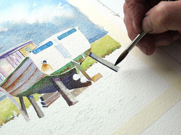 détails de réalisation à l'aquarelle des ombres sur les étais du bateau
