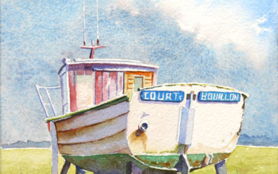 Aquarelle d'un petit bateau normand – pas à pas