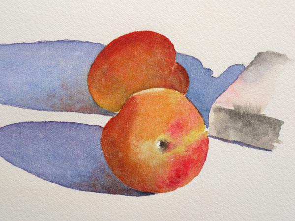 Aquarelle abricot ajout touche rose