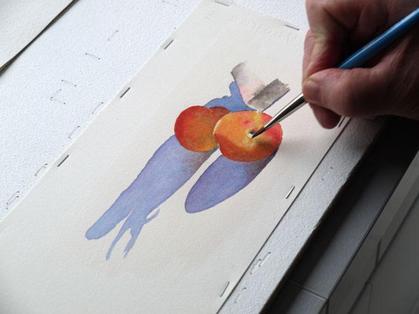 Aquarelle abricot creation blanc etape3