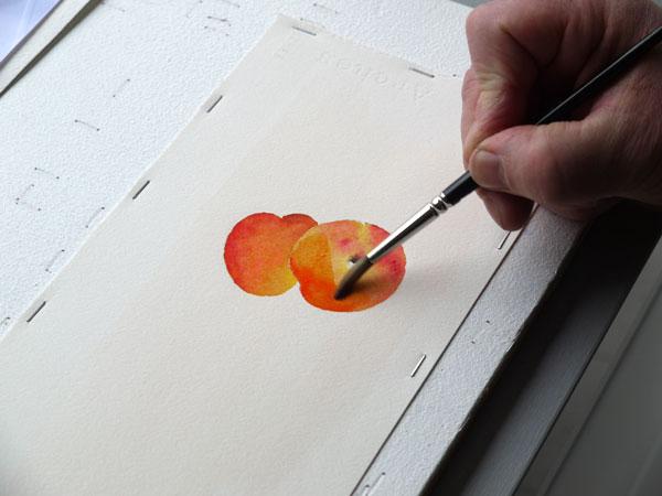 Aquarelle abricot glacis
