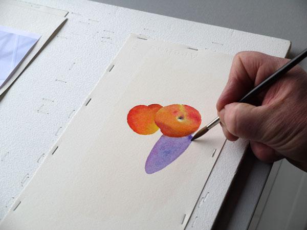 Aquarelle abricot realiser ombres etape3