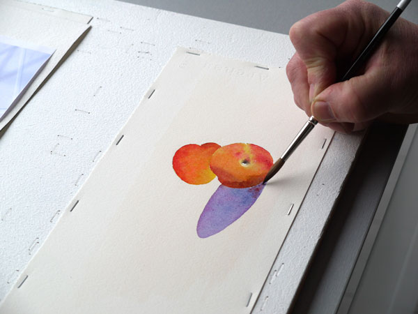 Aquarelle abricot realiser ombres etape5