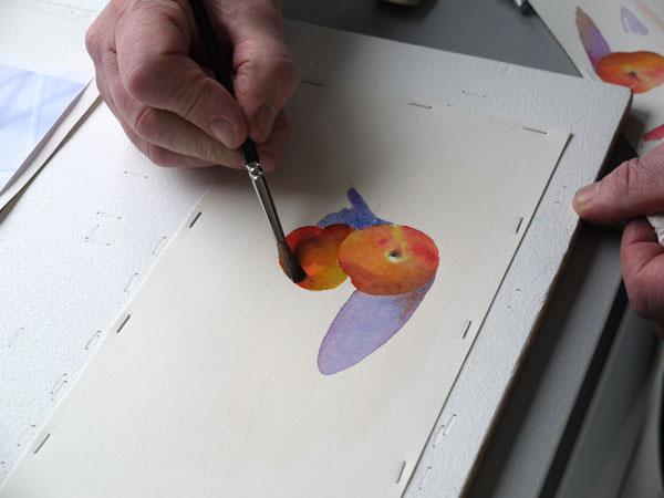 Aquarelle abricot realiser ombres portee etape3