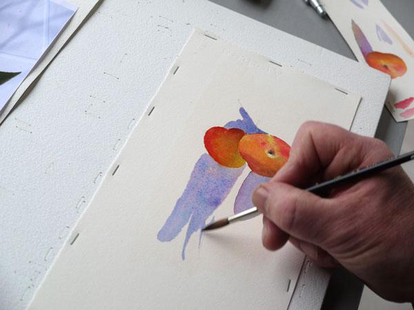 Aquarelle abricot realiser ombres portee etape4