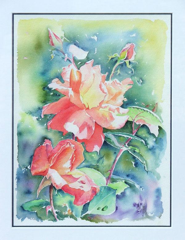 Auquarelle de rose Louis de Funes
