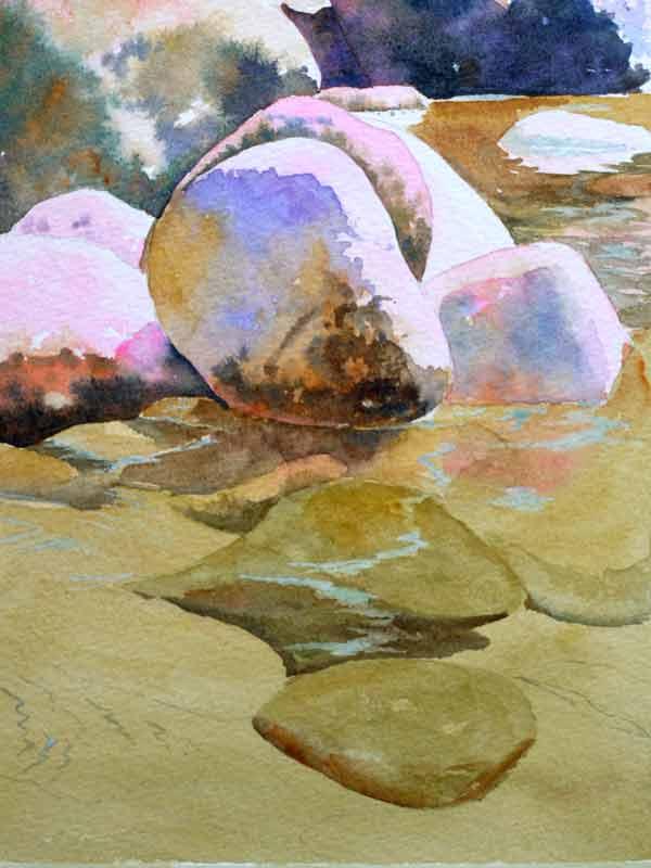 Aquarelle yosemite cailloux eau 1341