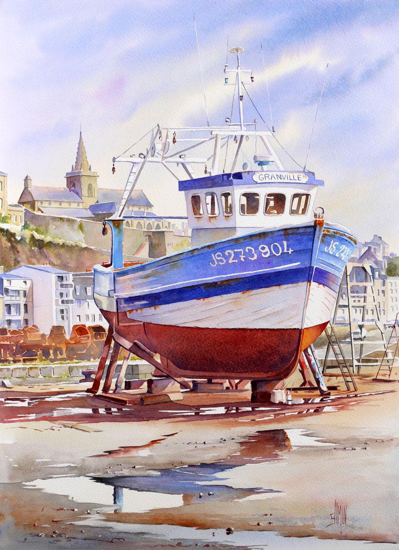 Aquarelle bateau Granville
