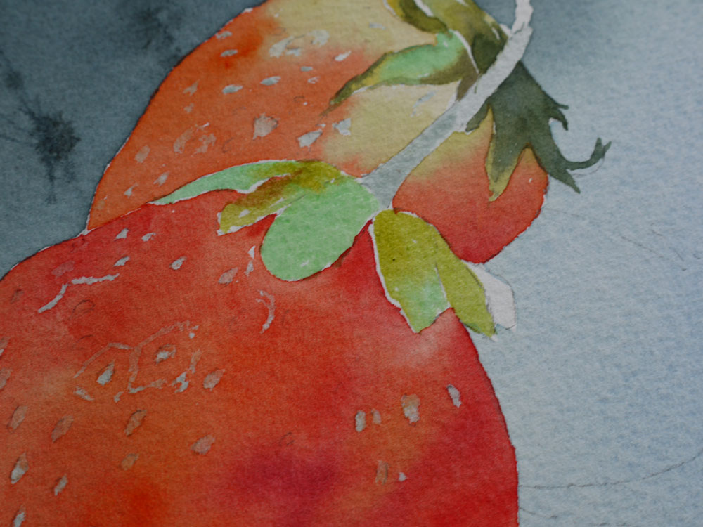 aquarelle-fraise-feuillage-17