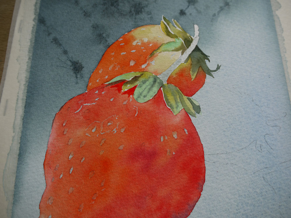 aquarelle-fraise-feuillage-18