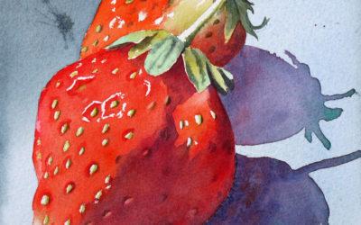 Les fraises – pas à pas à l'aquarelle