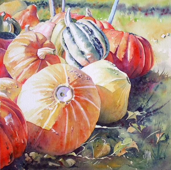 Aquarelle watercolor citrouille Pele mele e1449530231130