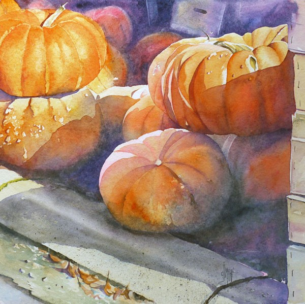 Aquarelle watercolor citrouille Sur le trottoir e1449530161674