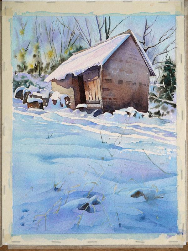 aquarelle-watercolor-baraque-neige-44
