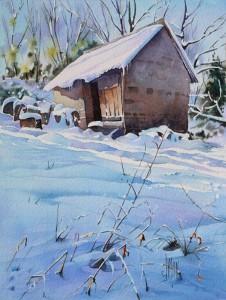 aquarelle watercolor baraque neige final1
