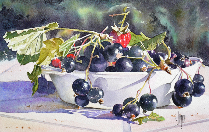 Aquarelle Joel Simon nature morte Cassis