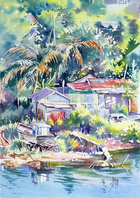aquarelle watercolor Antigua Caraibes