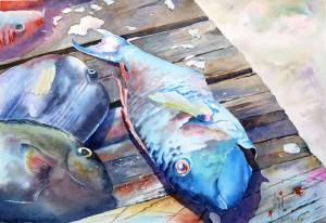 aquarelle watercolor Blue