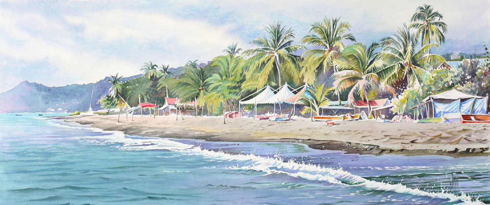 aquarelle watercolor Le carbet Martinique