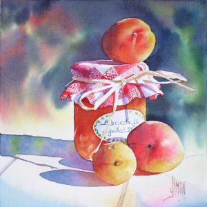aquarelle joel simon abricots pot