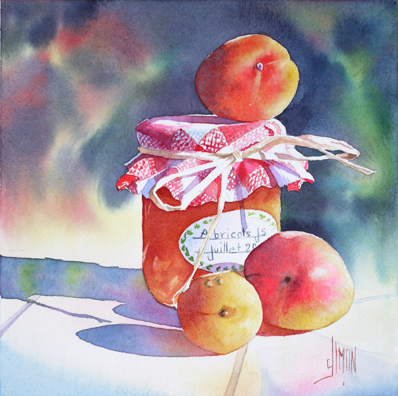 aquarelle joel simon abricots pot