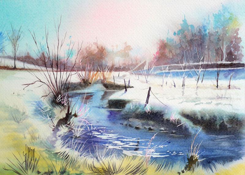 aquarelle joel simon frisquet deux neige