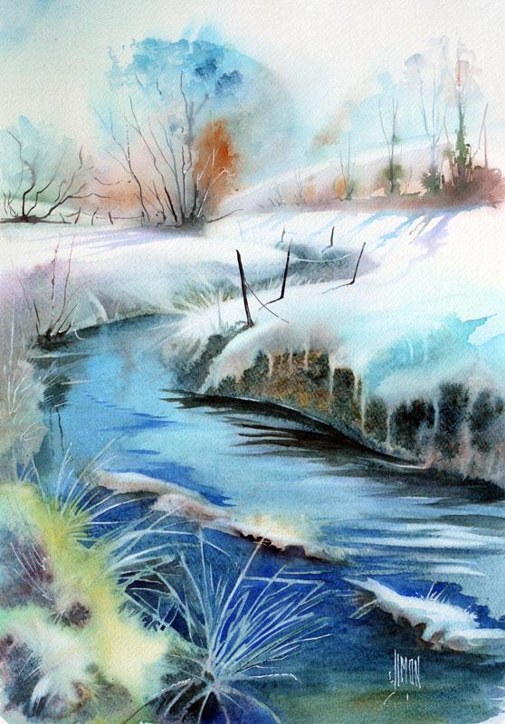 aquarelle joel simon frisquet neige