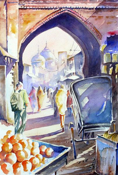 aquarelle joel simon rue orient