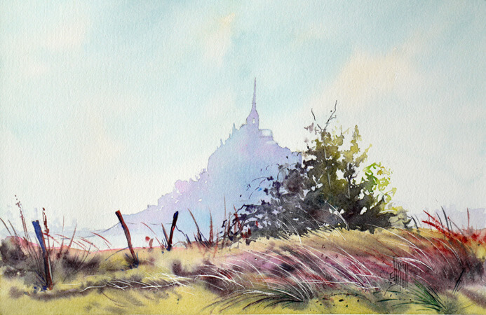 Aquarelle du Mont Saint Michel