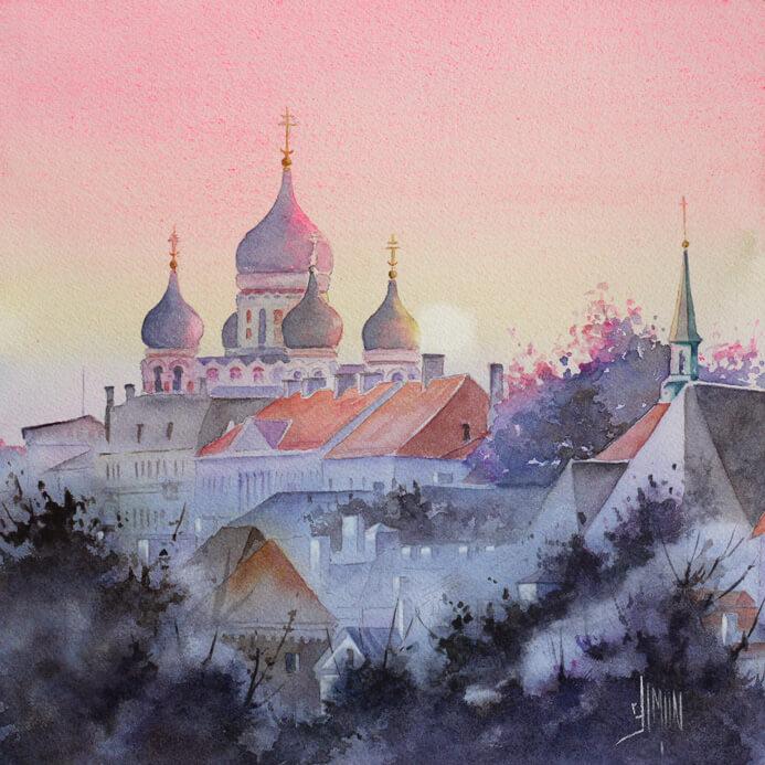 aquarelle de la ville de Tallinn