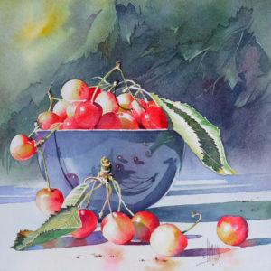 Aquarelle d'un bol de cerises