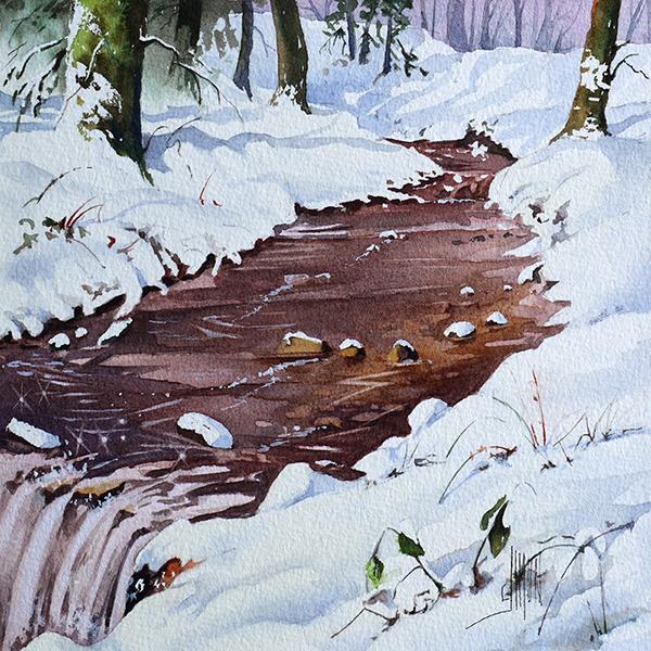 aquarelle finale neige ruisseau de la mine